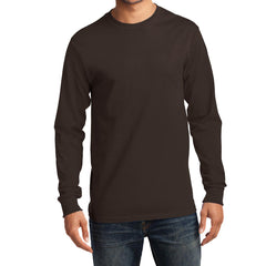 Men's Long Sleeve Essential Tee - Dark Chocolate Brown - Front