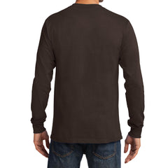 Men's Long Sleeve Essential Tee - Dark Chocolate Brown - Back