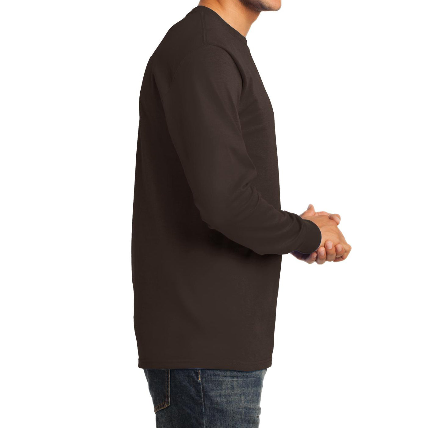 Men's Long Sleeve Essential Tee - Dark Chocolate Brown - Side