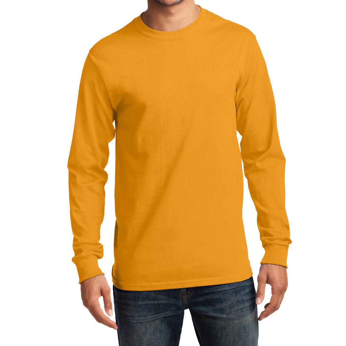 Men's Long Sleeve Essential Tee - Gold - Front