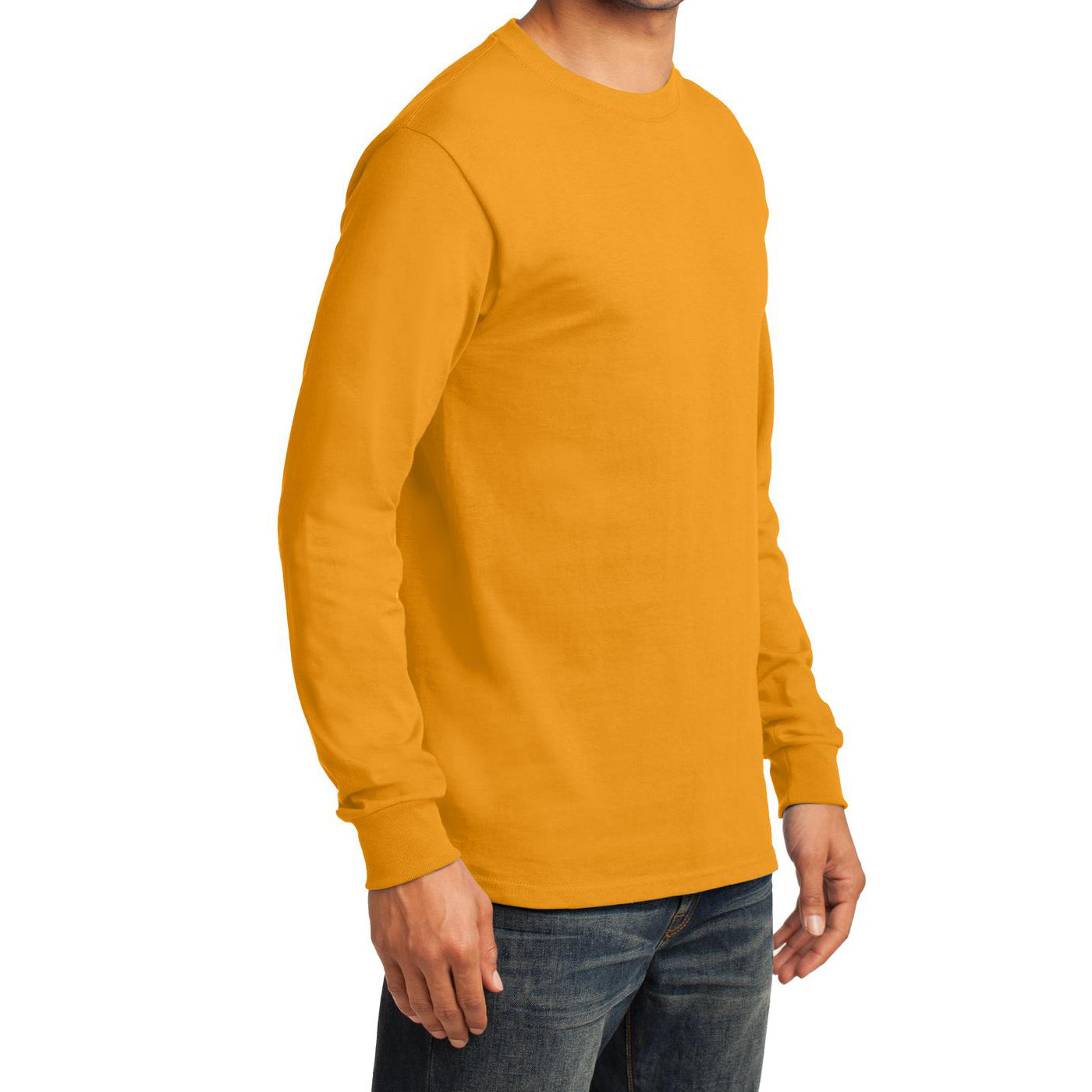 Men's Long Sleeve Essential Tee - Gold - Side