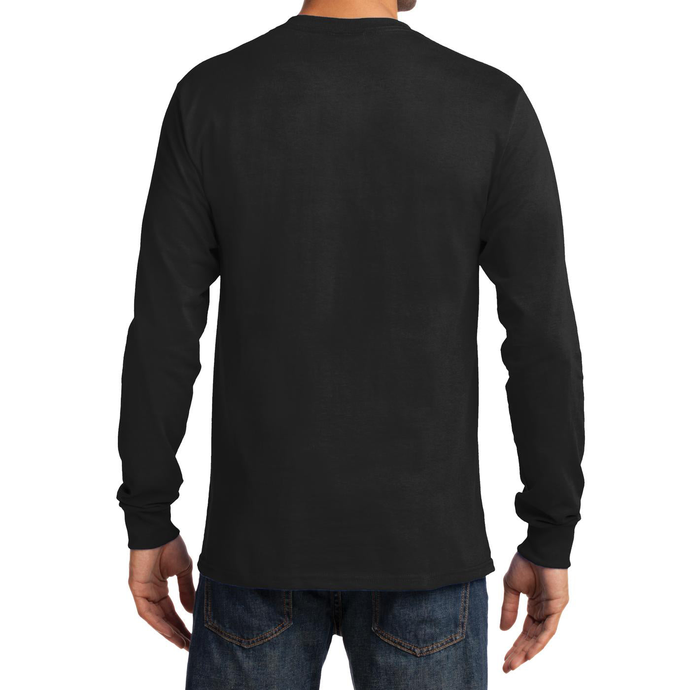 Men's Long Sleeve Essential Tee - Jet Black - Back