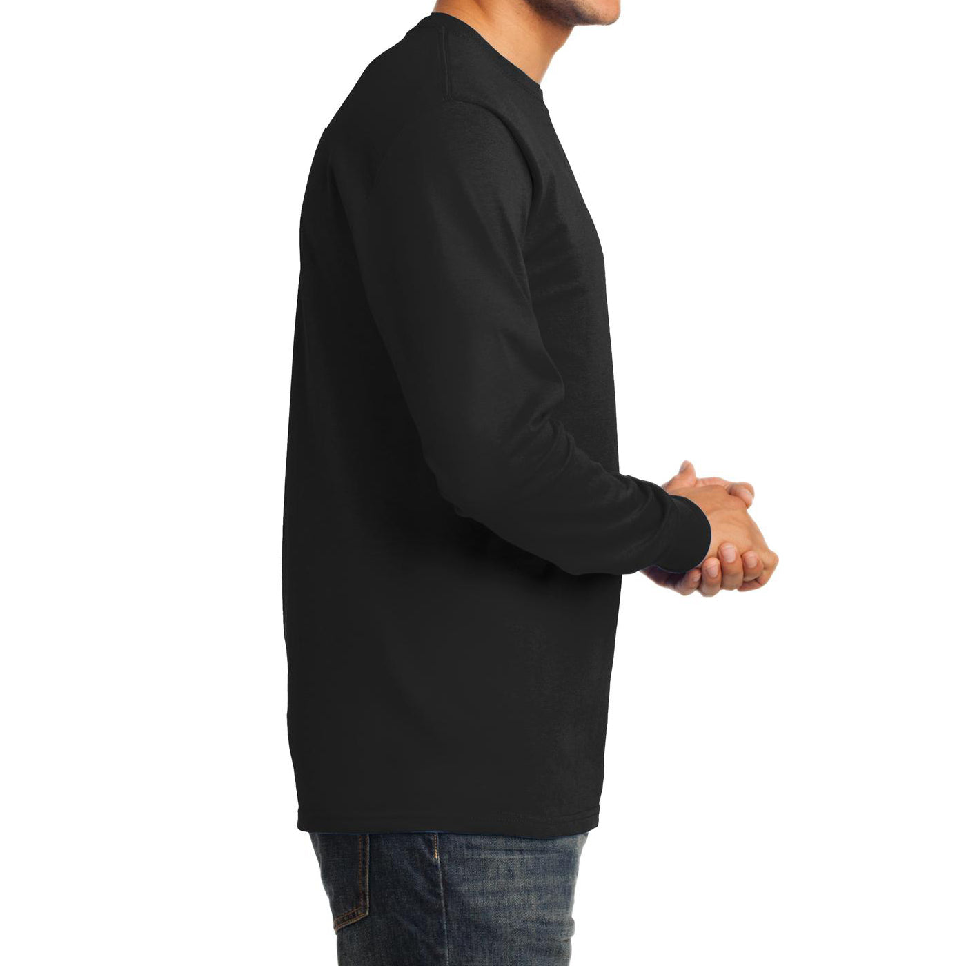 Men's Long Sleeve Essential Tee - Jet Black - Side