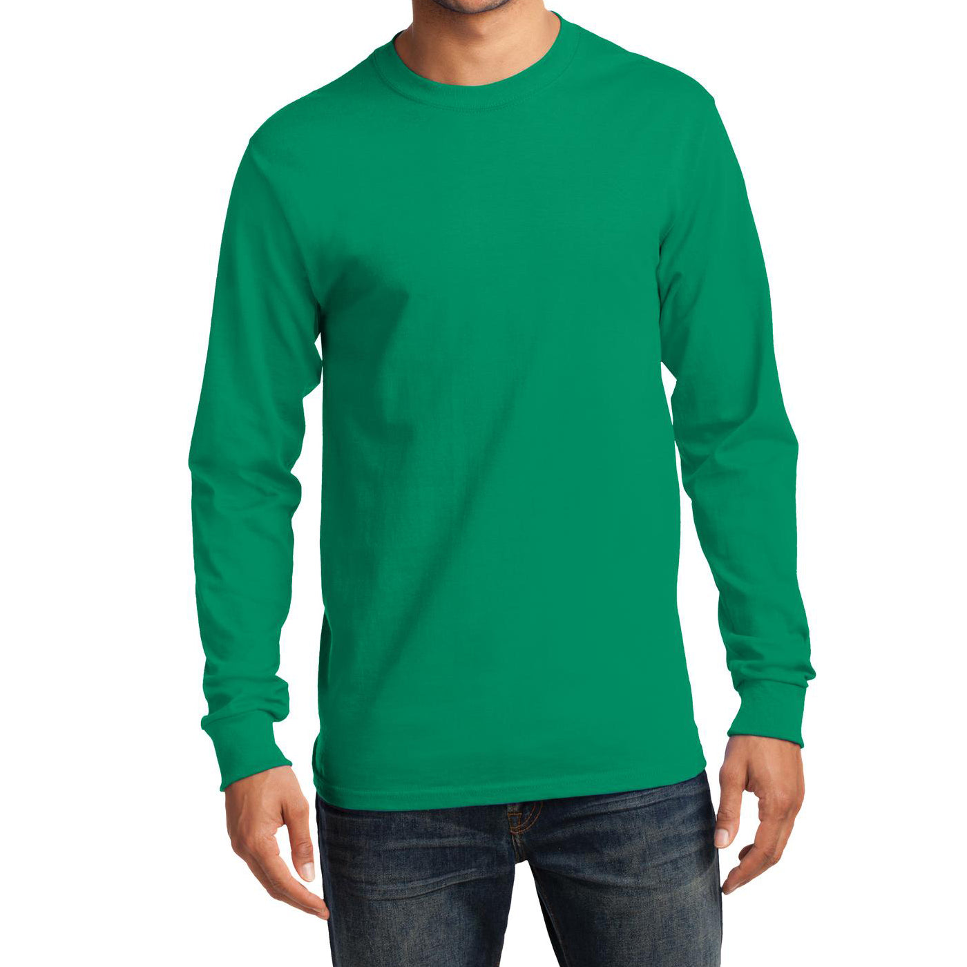 Men's Long Sleeve Essential Tee - Kelly - Front