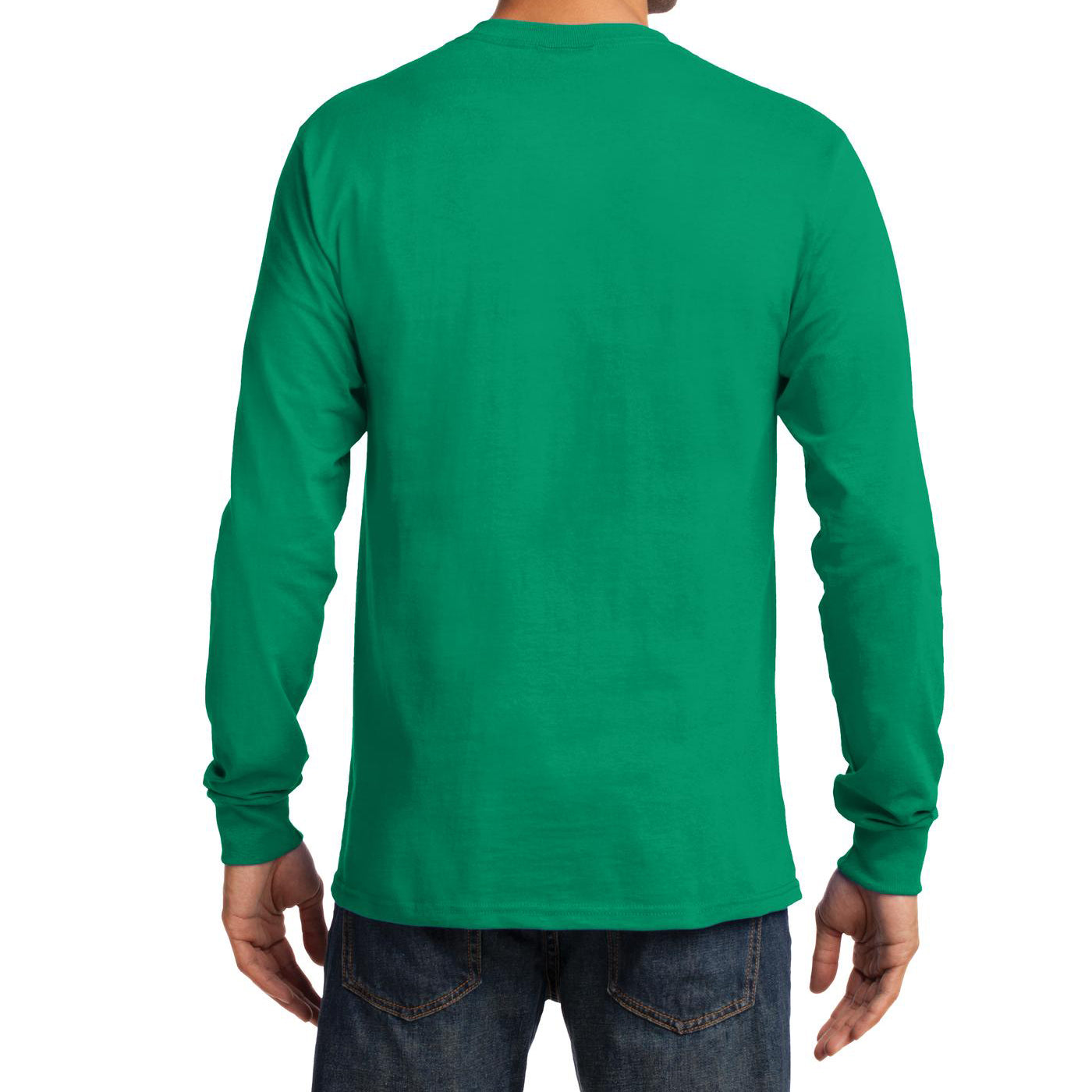 Men's Long Sleeve Essential Tee - Kelly - Back