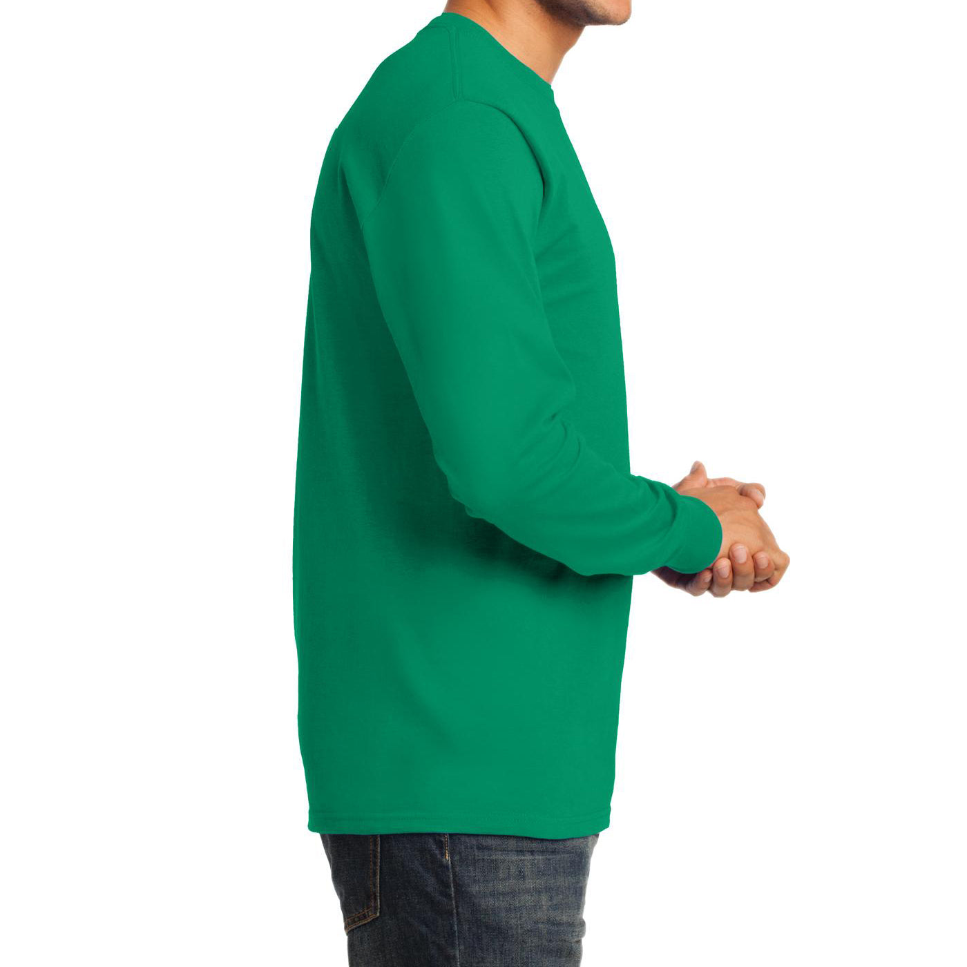 Men's Long Sleeve Essential Tee - Kelly - Side
