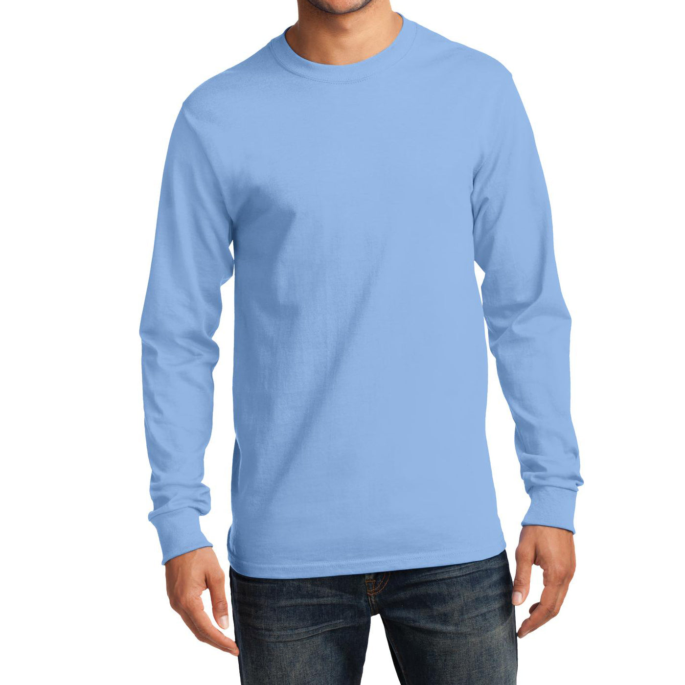 Men's Long Sleeve Essential Tee - Light Blue - Front