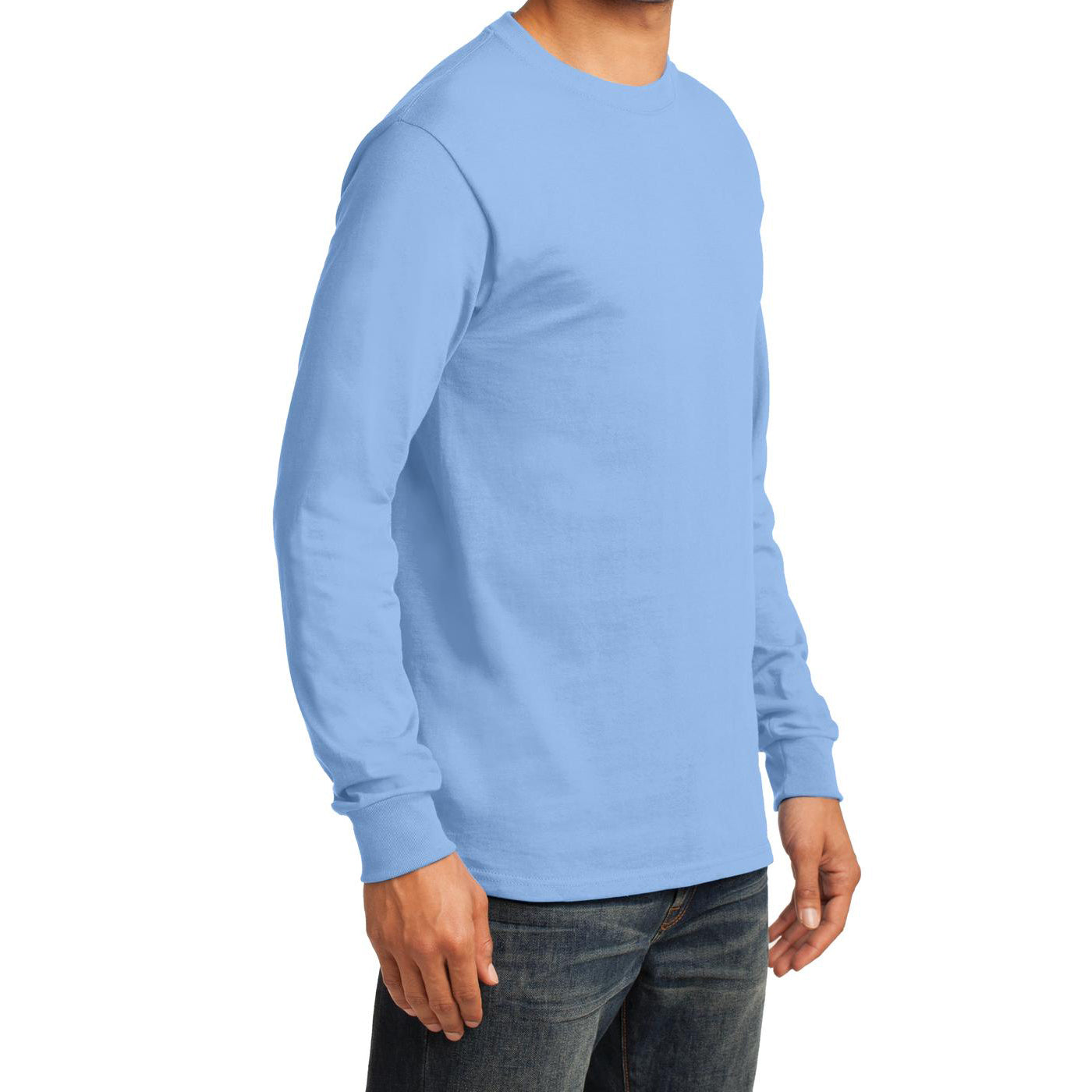 Men's Long Sleeve Essential Tee - Light Blue - Side