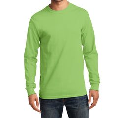 Men's Long Sleeve Essential Tee - Lime - Front