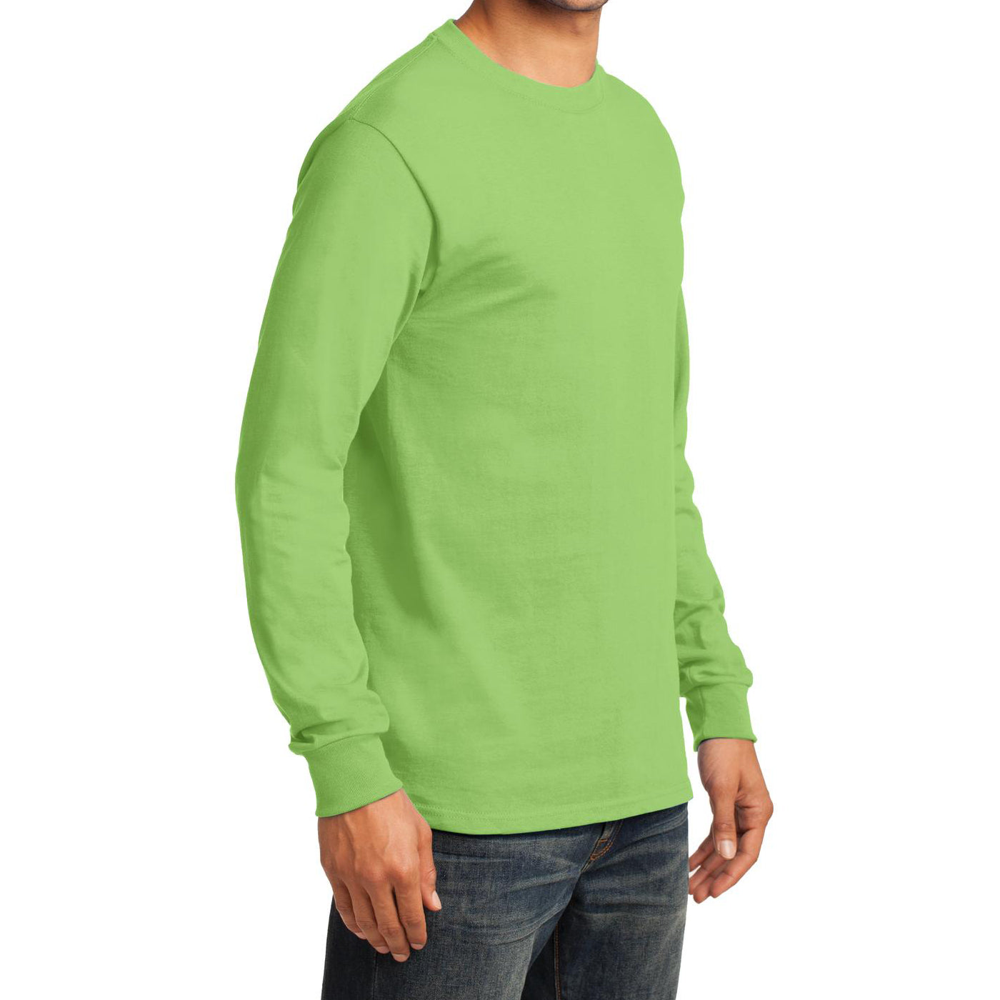 Men's Long Sleeve Essential Tee - Lime - Side