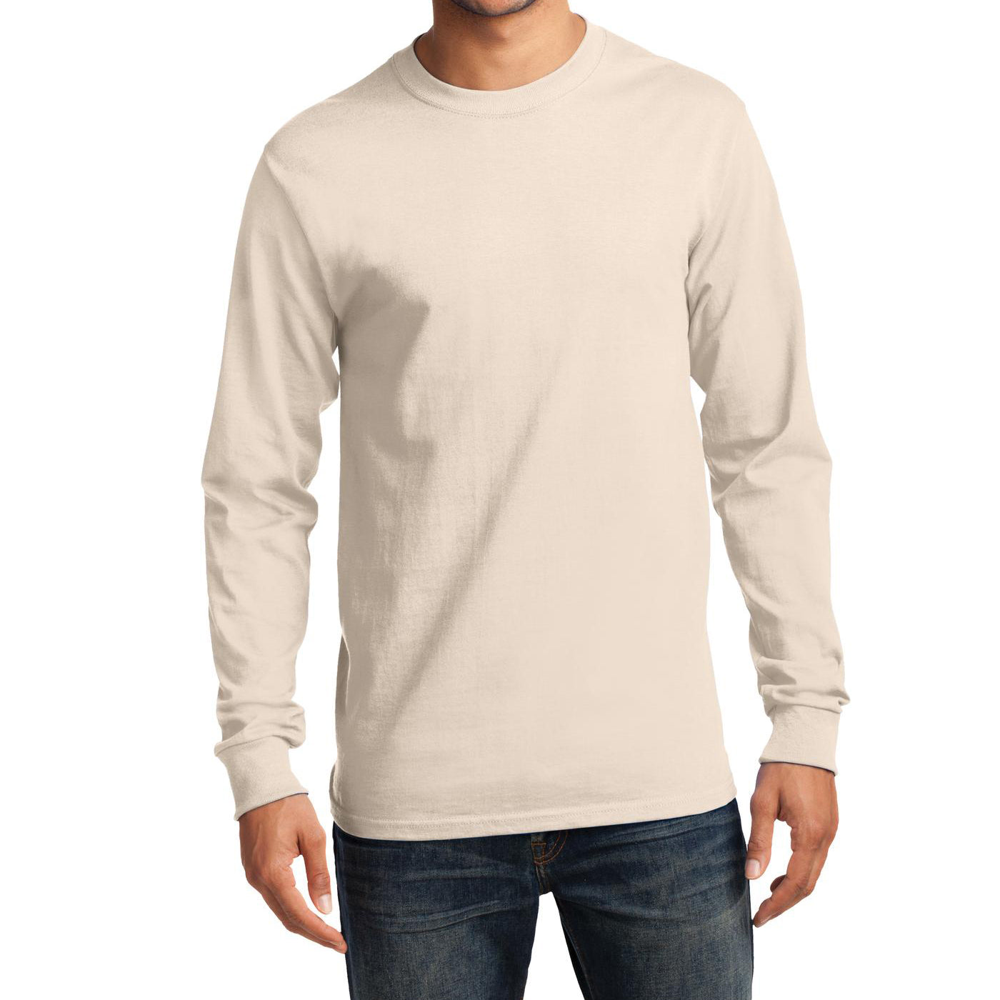 Men's Long Sleeve Essential Tee - Natural - Front