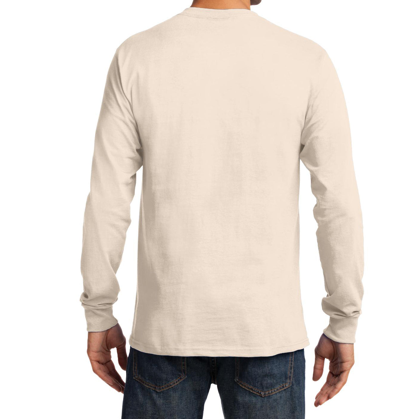 Men's Long Sleeve Essential Tee - Natural - Back