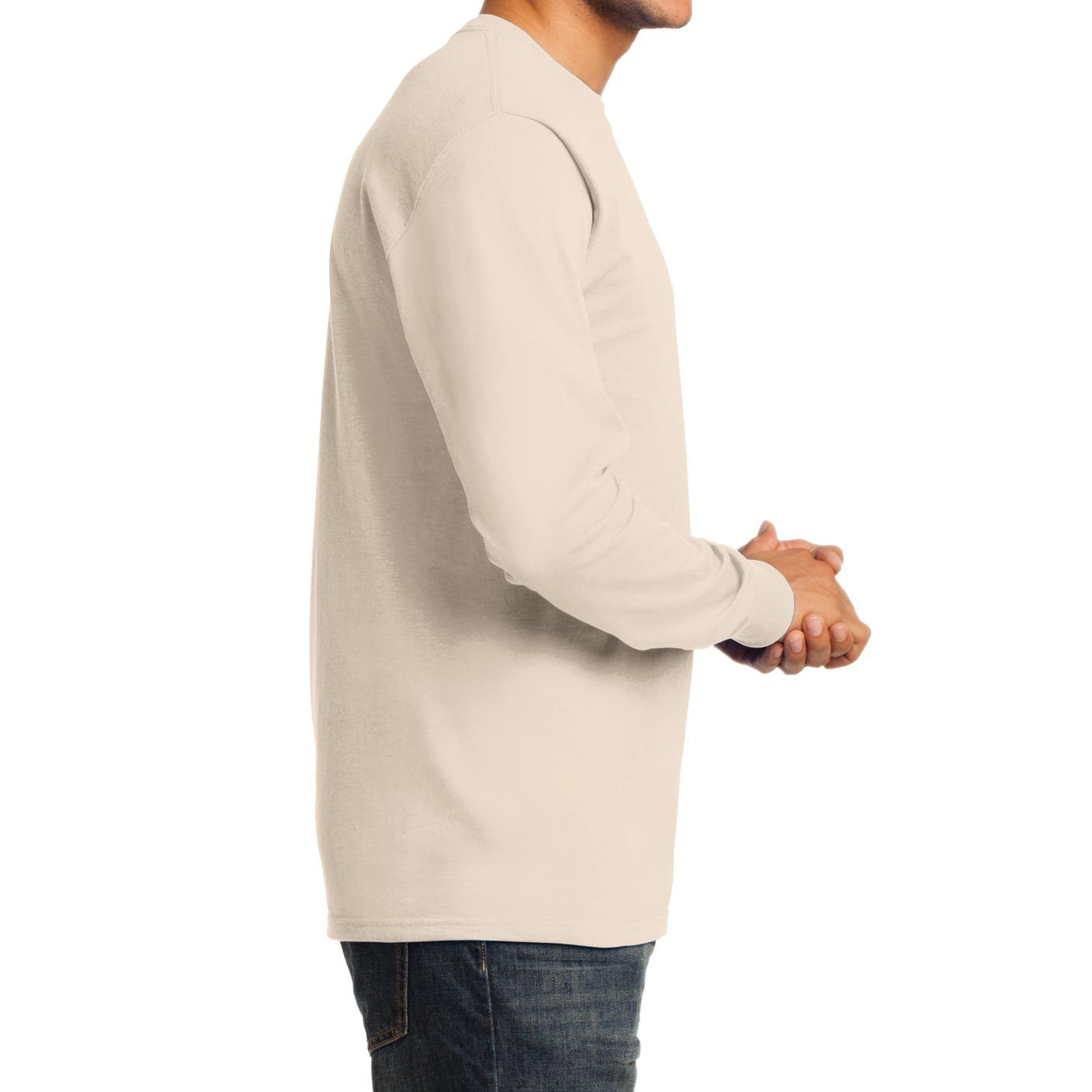 Men's Long Sleeve Essential Tee - Natural - Side