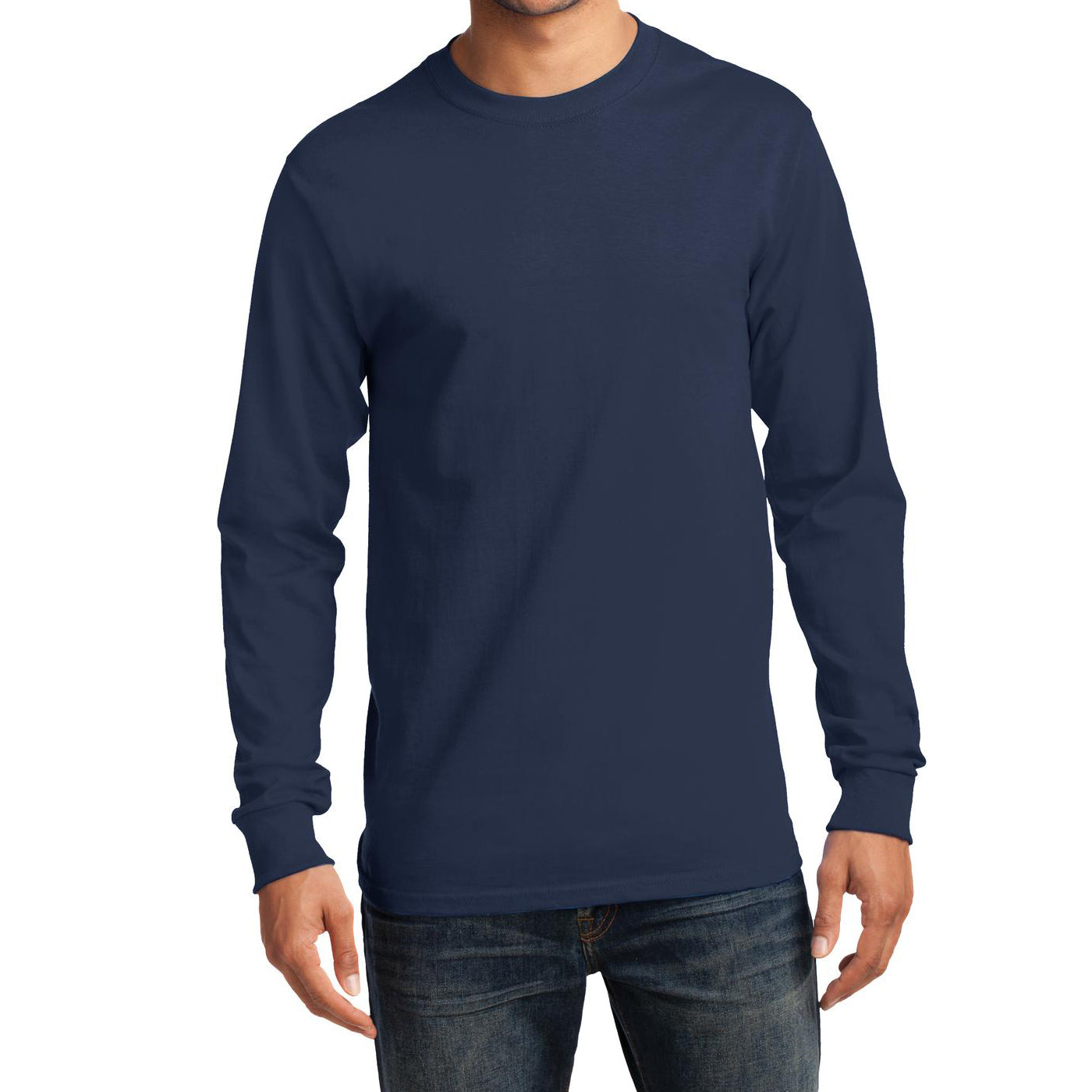 Men's Long Sleeve Essential Tee - Navy - Front