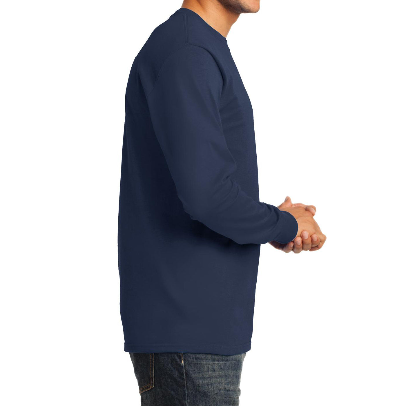 Men's Long Sleeve Essential Tee - Navy - Side