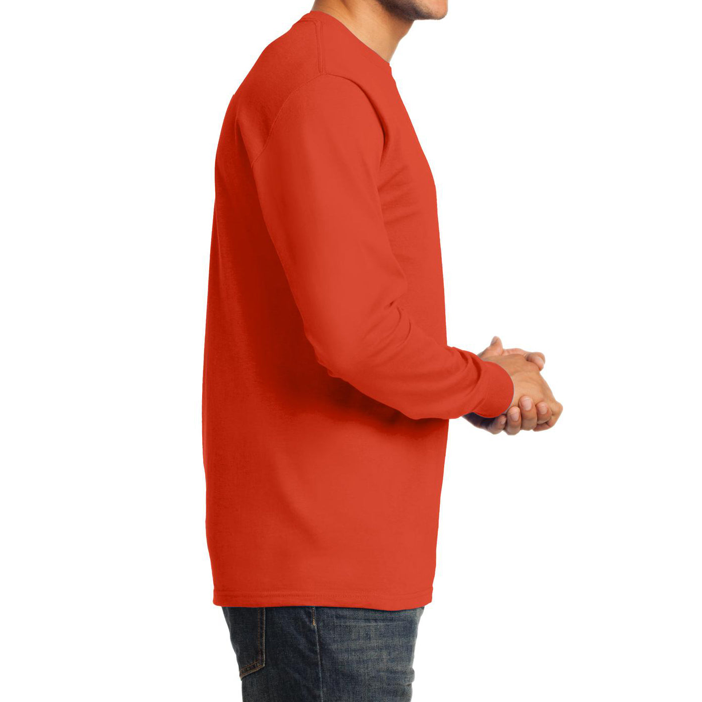 Men's Long Sleeve Essential Tee - Orange - Side