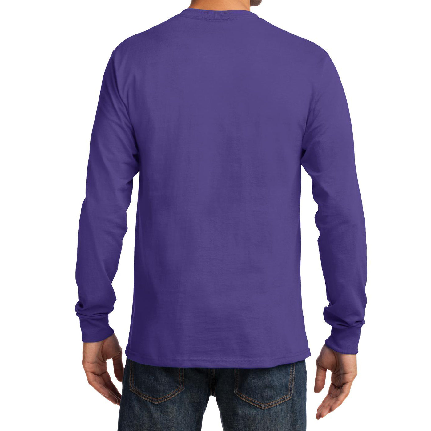 Men's Long Sleeve Essential Tee - Purple - Back