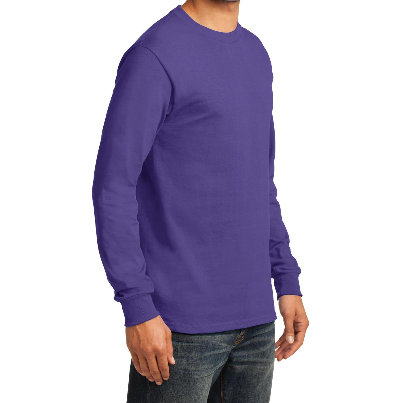 Men's Long Sleeve Essential Tee - Purple - Side