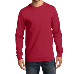 Men's Long Sleeve Essential Tee - Red - Front