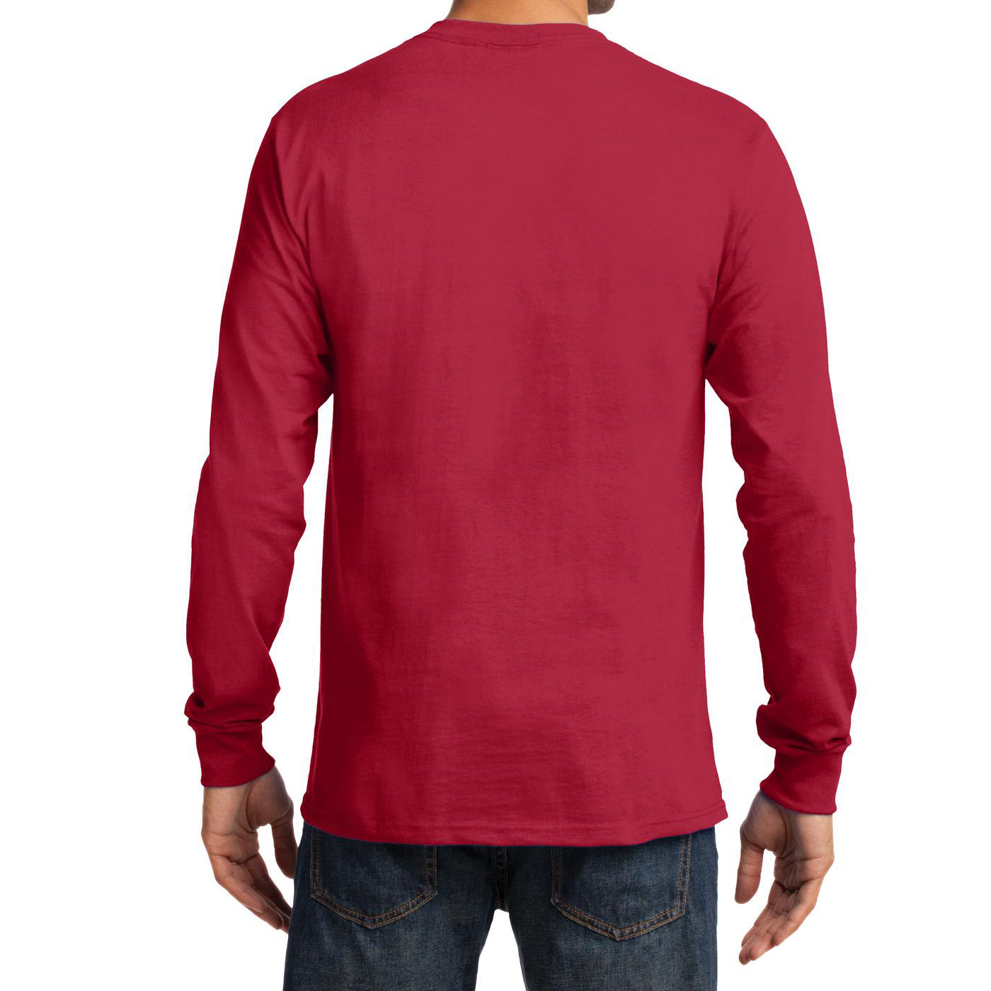 Men's Long Sleeve Essential Tee - Red - Back