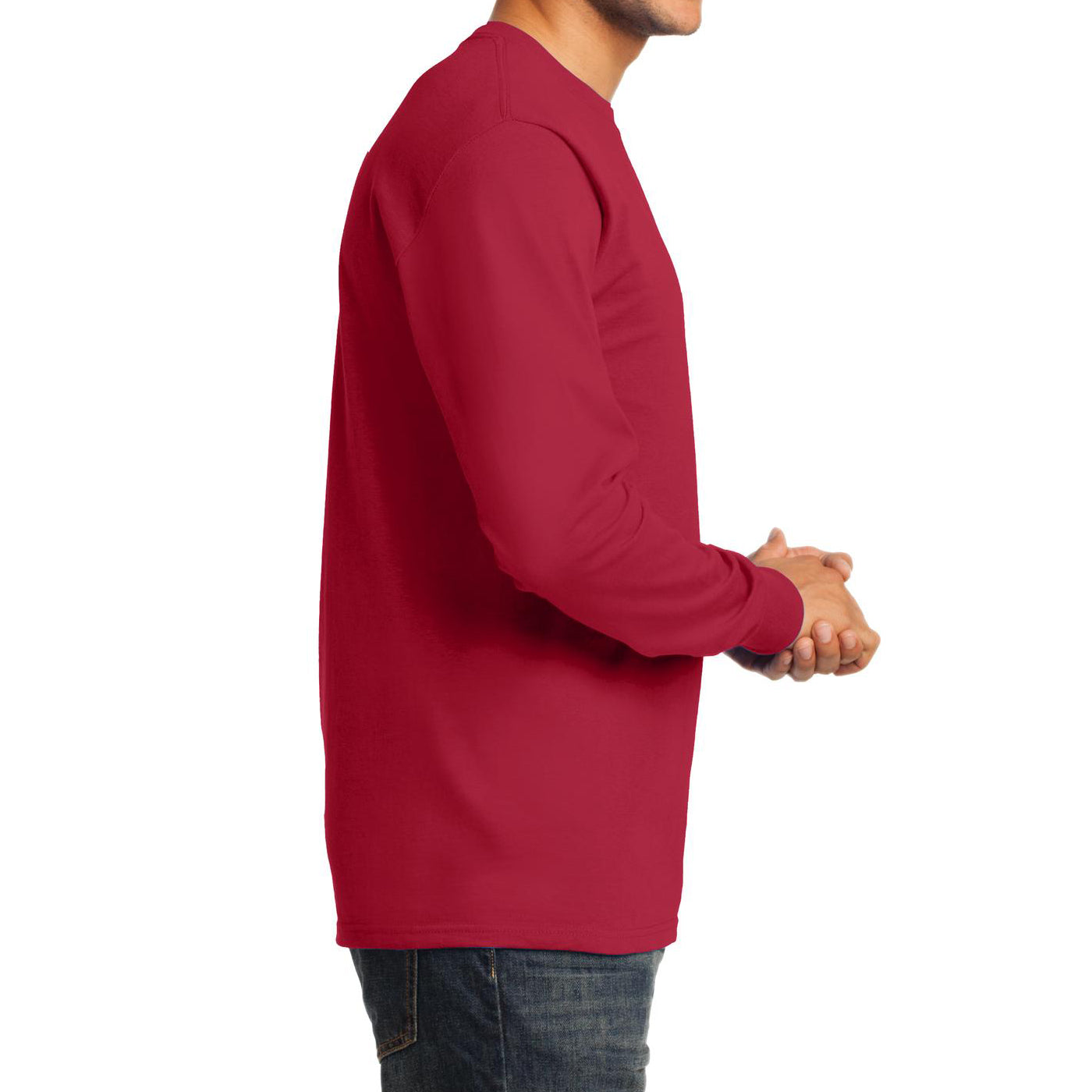 Men's Long Sleeve Essential Tee - Red - Side