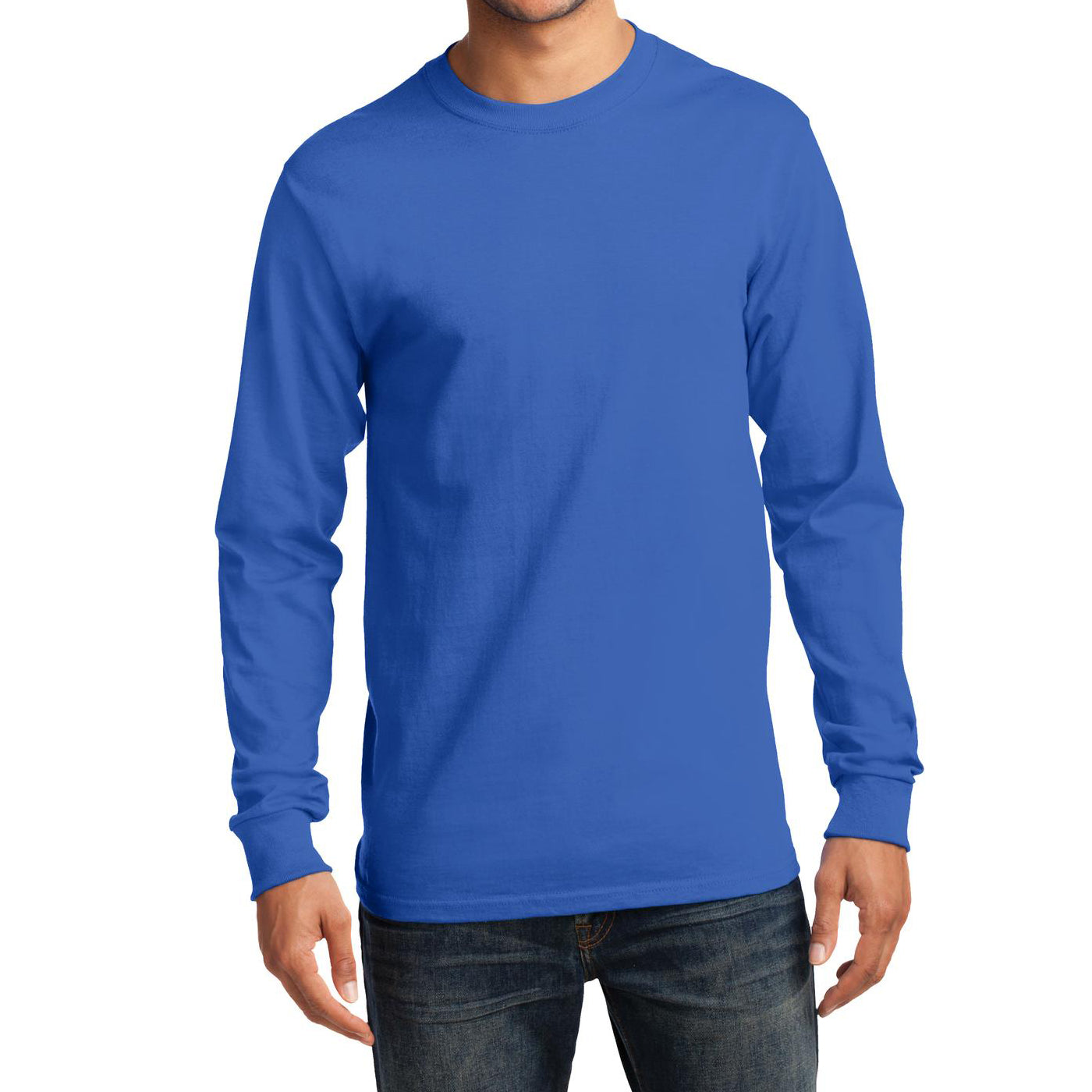 Men's Long Sleeve Essential Tee - Royal - Front