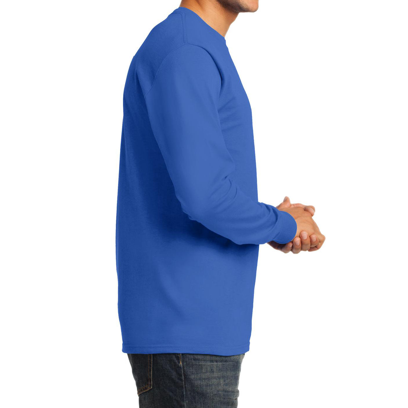 Men's Long Sleeve Essential Tee - Royal - Side