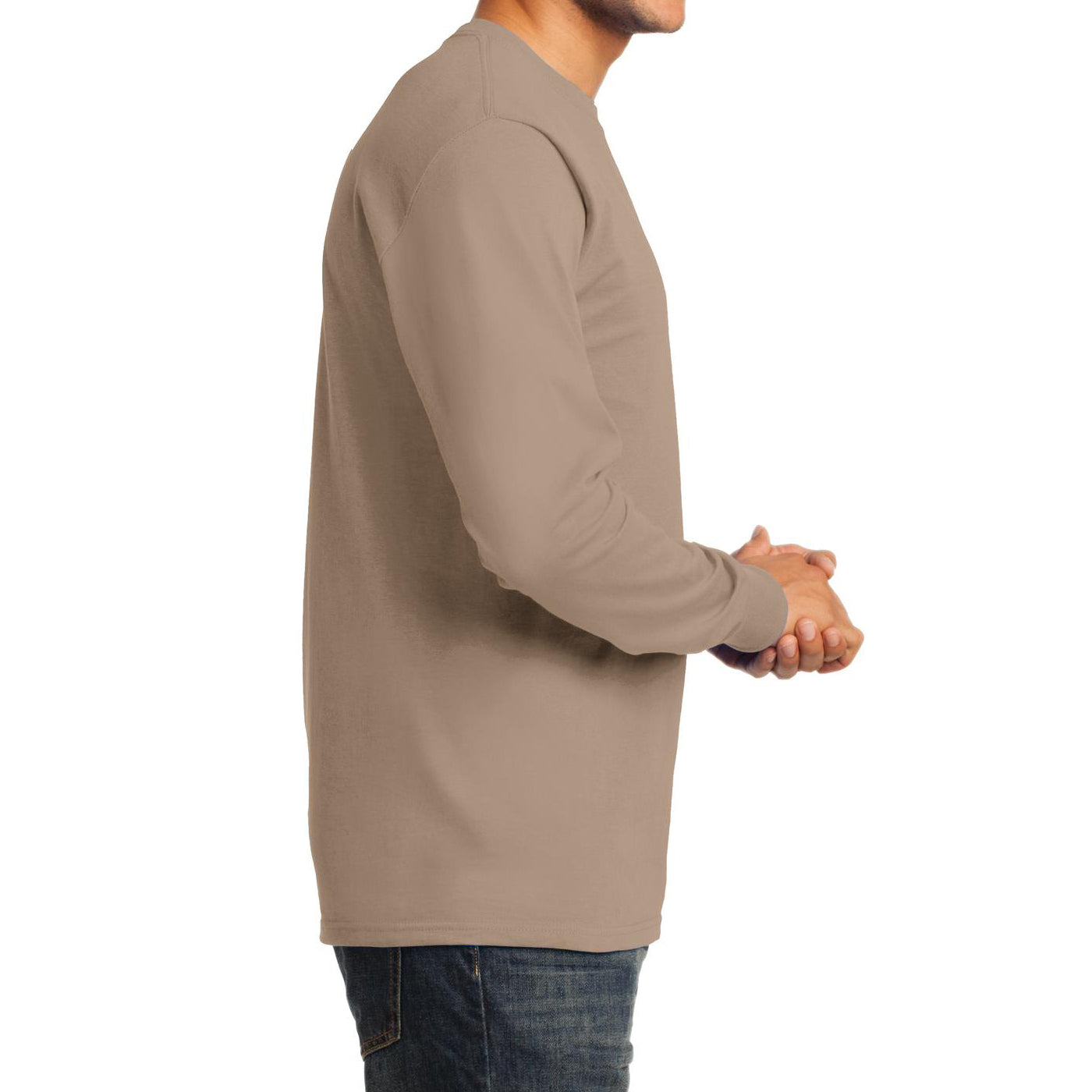 Men's Long Sleeve Essential Tee - Sand - Side