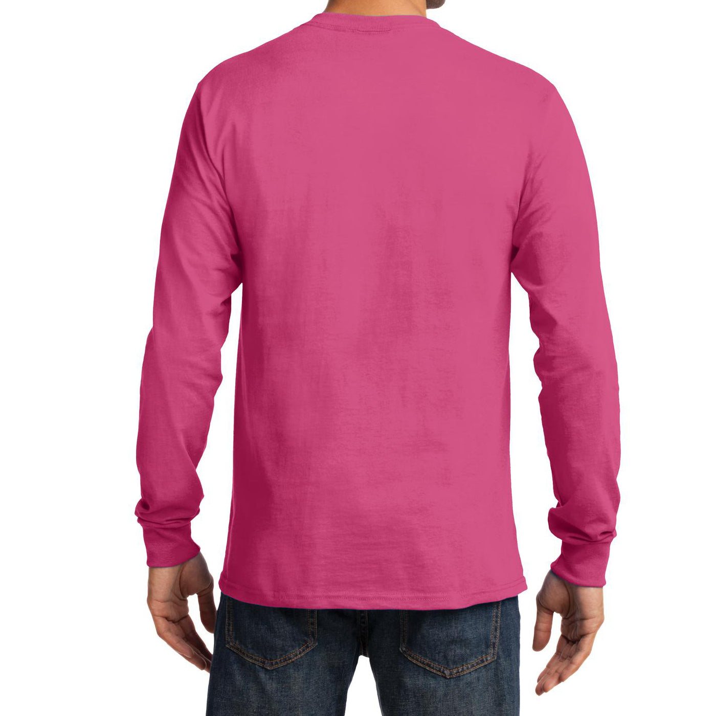 Men's Long Sleeve Essential Tee - Sangria - Back