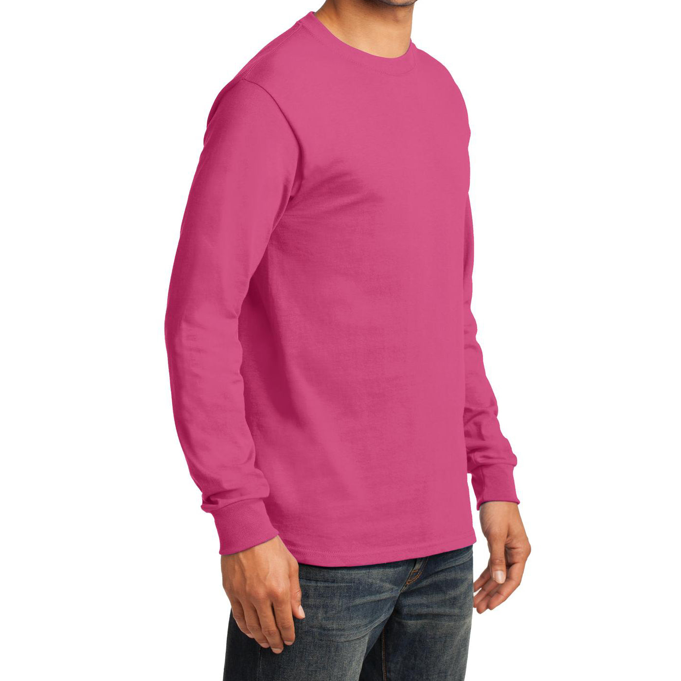 Men's Long Sleeve Essential Tee - Sangria - Side