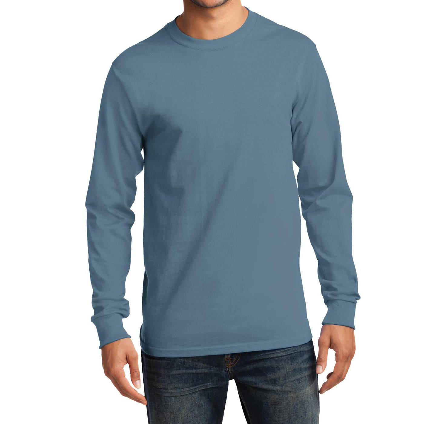 Men's Long Sleeve Essential Tee - Stonewashed Blue - Front