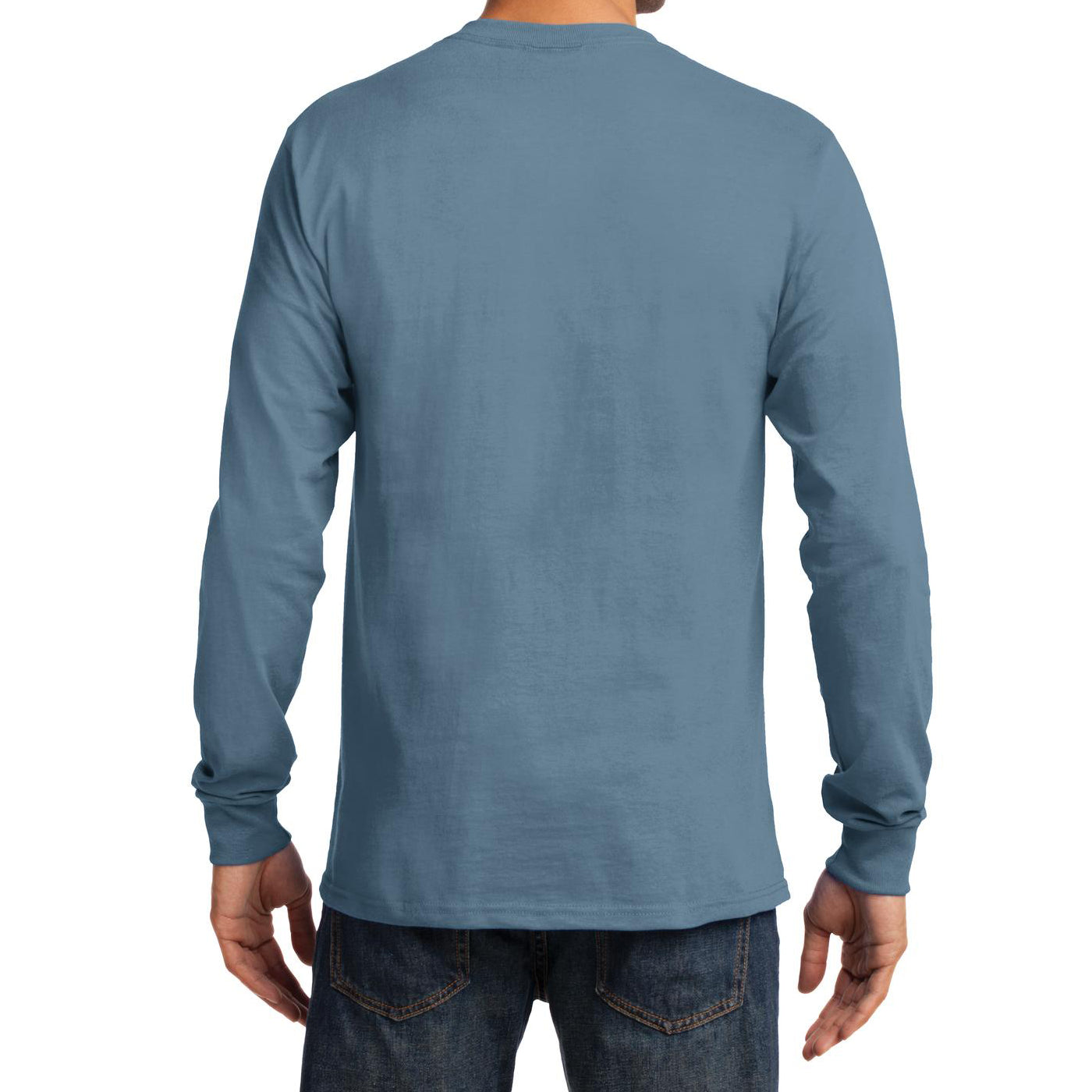 Men's Long Sleeve Essential Tee - Stonewashed Blue - Back