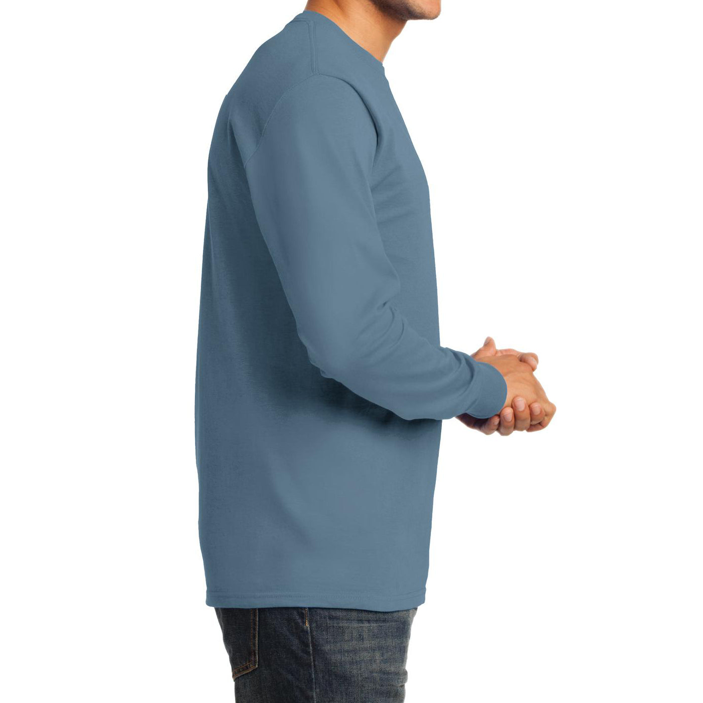 Men's Long Sleeve Essential Tee - Stonewashed Blue - Side
