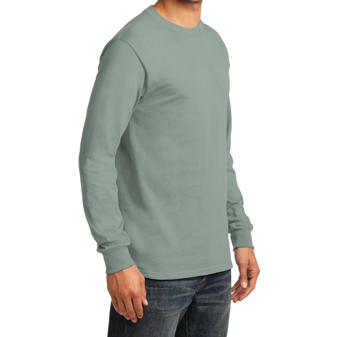 Men's Long Sleeve Essential Tee - Stonewashed Green - Side