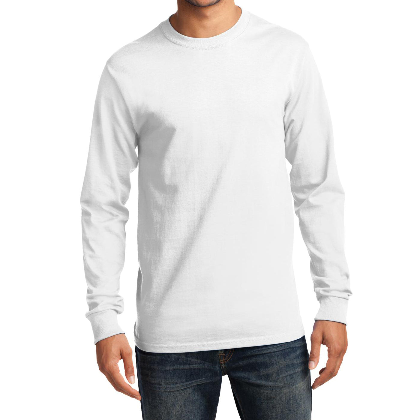Men's Long Sleeve Essential Tee - White - Front