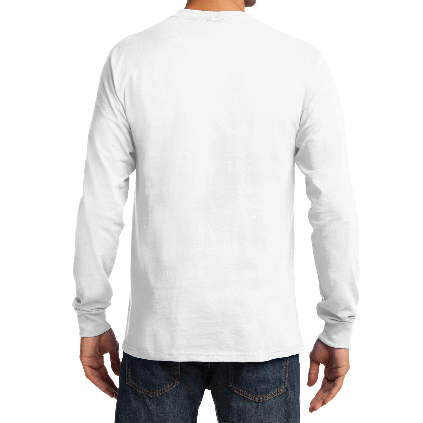 Men's Long Sleeve Essential Tee - White - Back