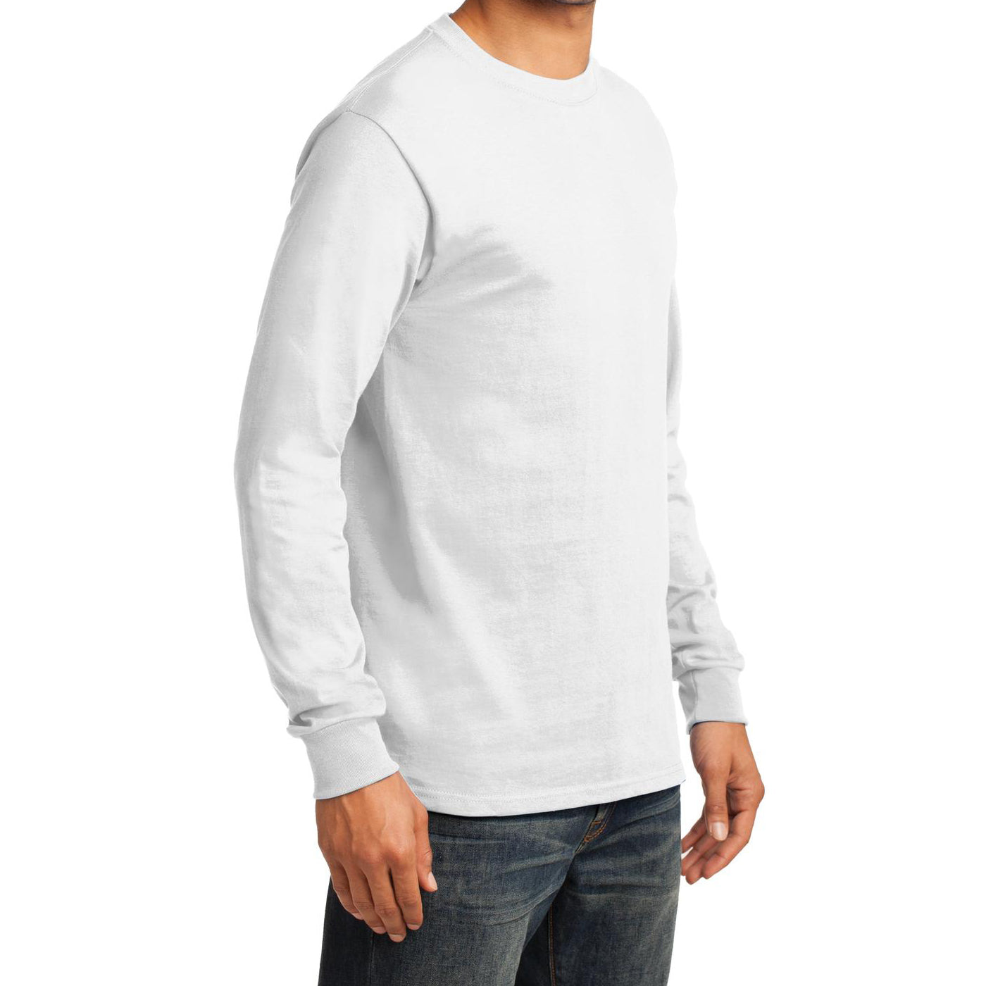 Men's Long Sleeve Essential Tee - White - Side