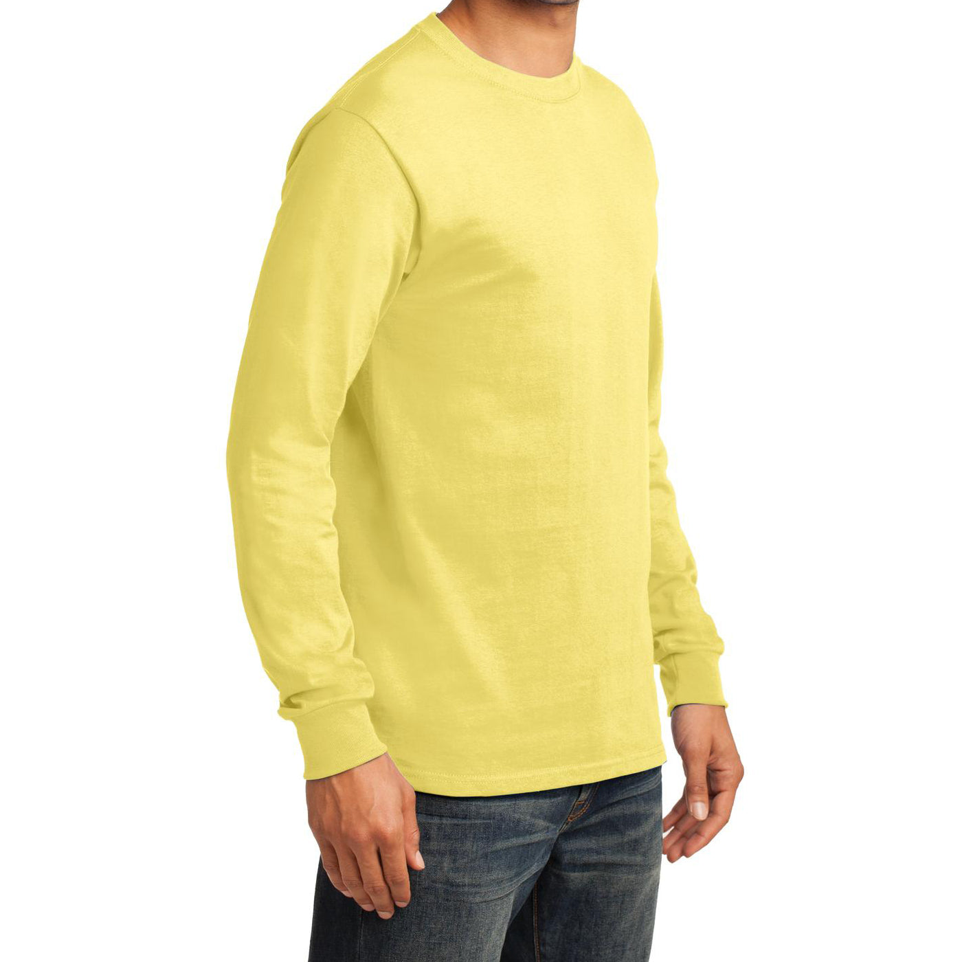 Men's Long Sleeve Essential Tee - Yellow - Side