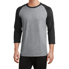 Men's Core Blend 3/4-Sleeve Raglan Tee - Athletic Heather/ Jet Black - Front