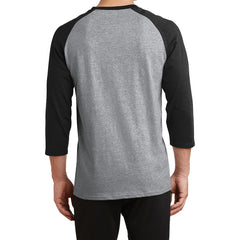 Men's Core Blend 3/4-Sleeve Raglan Tee - Athletic Heather/ Jet Black - Back