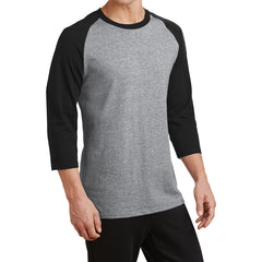 Men's Core Blend 3/4-Sleeve Raglan Tee - Athletic Heather/ Jet Black - Side