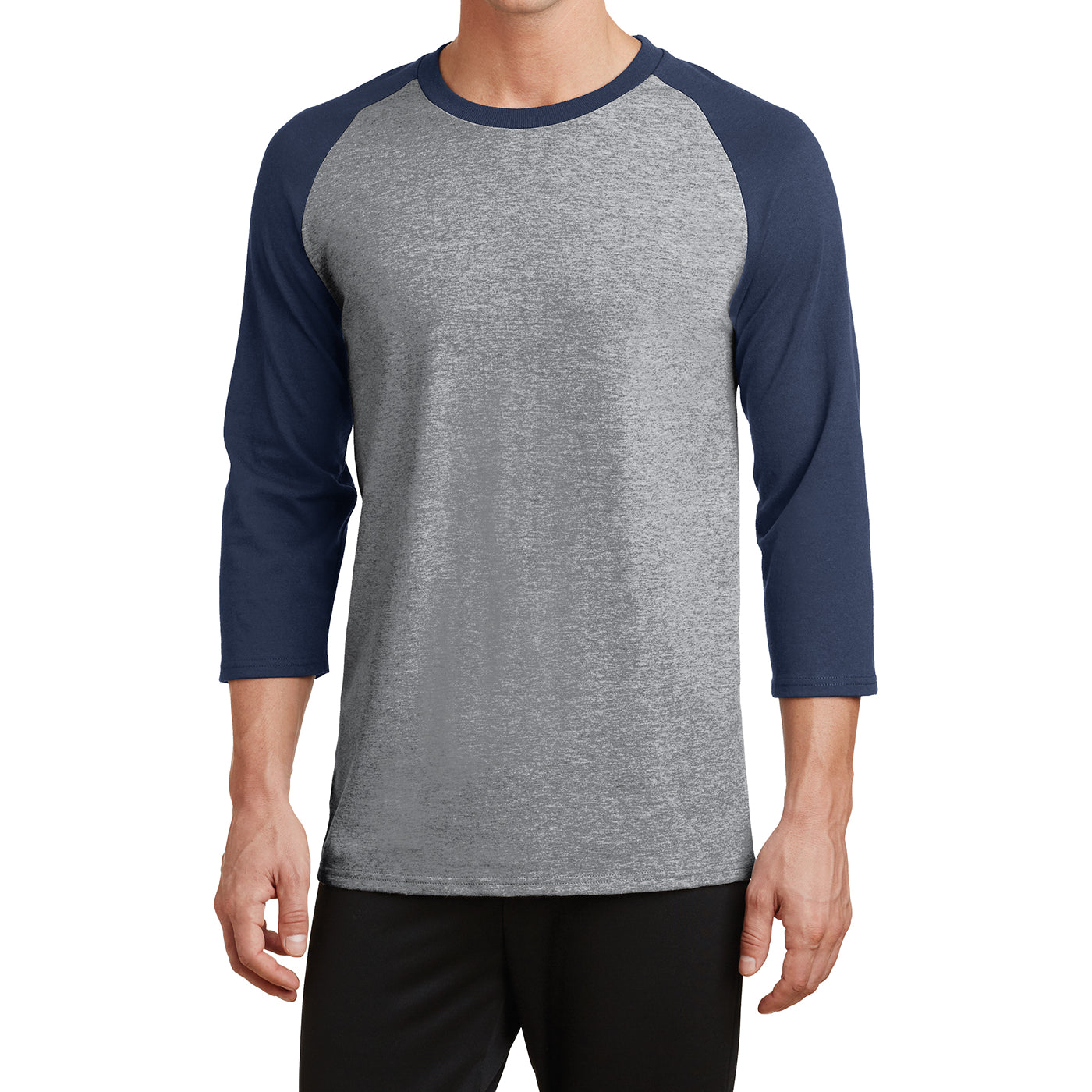 Men's Core Blend 3/4-Sleeve Raglan Tee - Athletic Heather/ Navy - Front