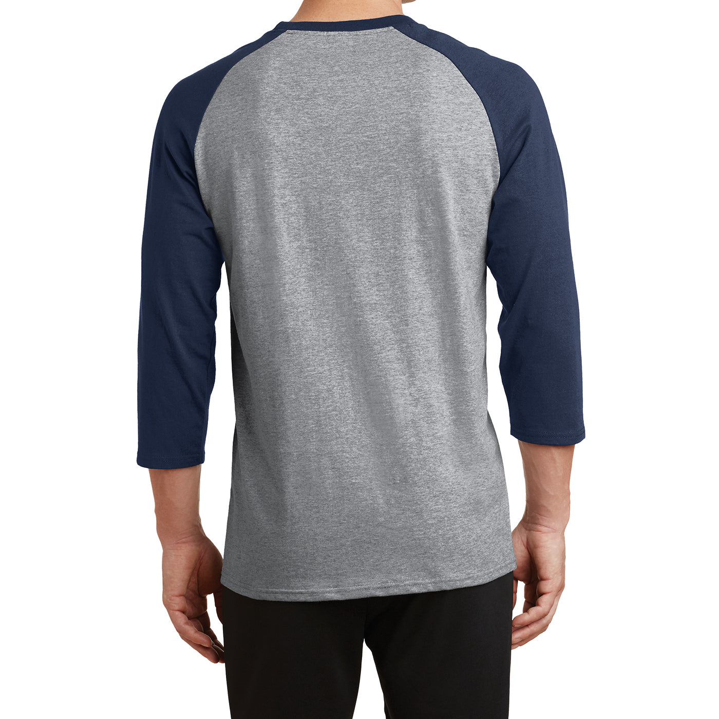 Men's Core Blend 3/4-Sleeve Raglan Tee - Athletic Heather/ Navy - Back