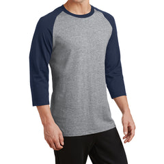 Men's Core Blend 3/4-Sleeve Raglan Tee - Athletic Heather/ Navy - Side
