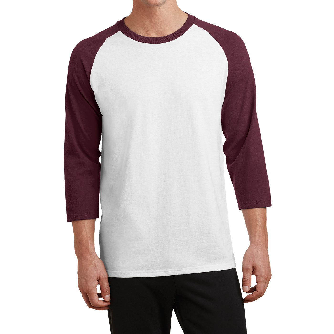 Men's Core Blend 3/4-Sleeve Raglan Tee - White/ Athletic Maroon - Front
