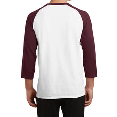 Men's Core Blend 3/4-Sleeve Raglan Tee - White/ Athletic Maroon - Back