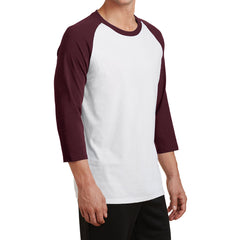 Men's Core Blend 3/4-Sleeve Raglan Tee - White/ Athletic Maroon - Side