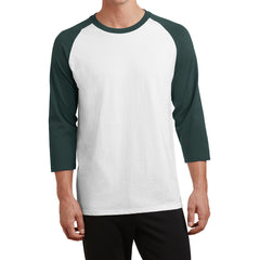 Men's Core Blend 3/4-Sleeve Raglan Tee -White/ Dark Green - Front