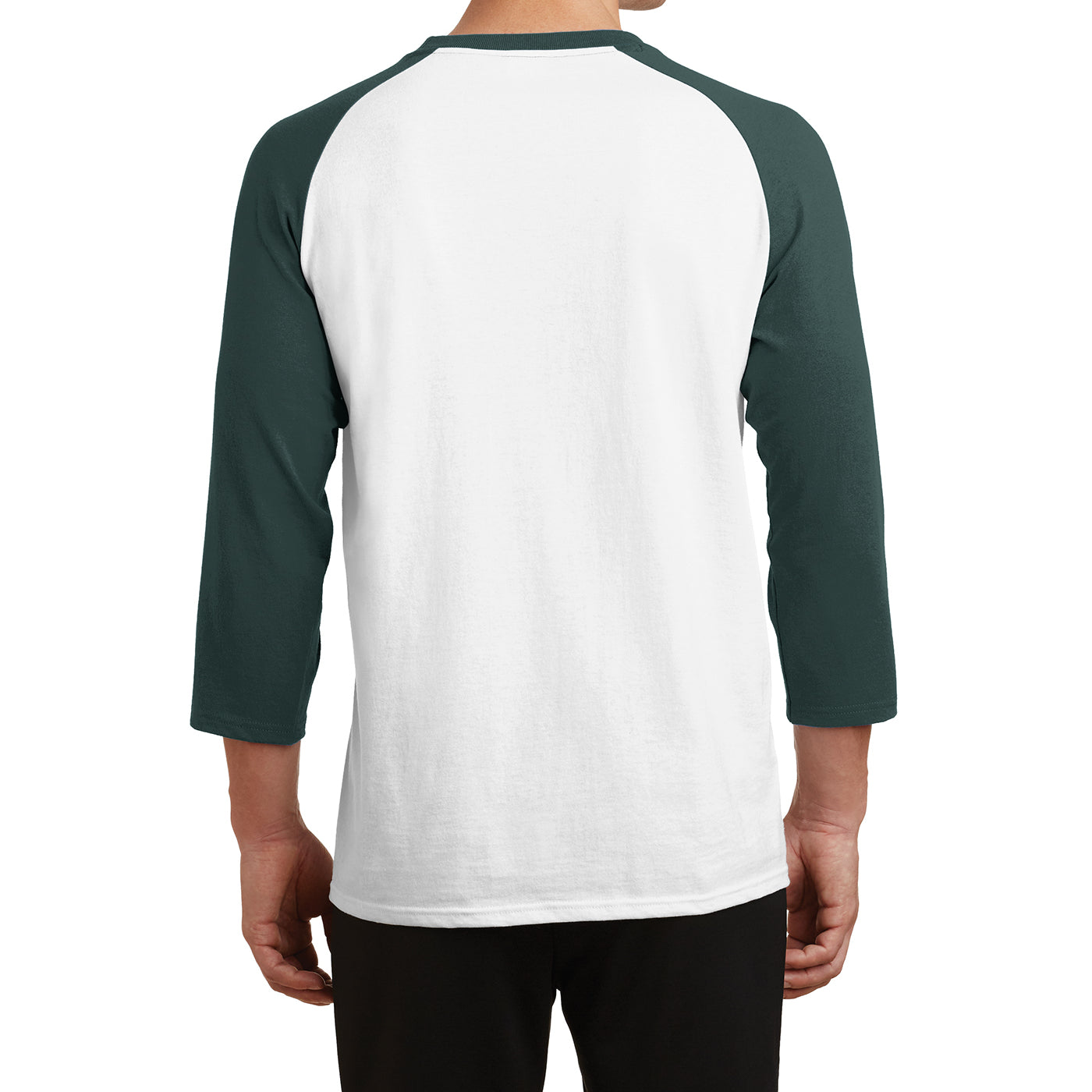 Men's Core Blend 3/4-Sleeve Raglan Tee -White/ Dark Green - Back