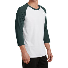 Men's Core Blend 3/4-Sleeve Raglan Tee -White/ Dark Green - Side